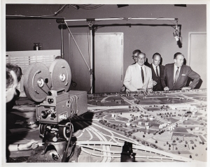 Robert Moses and Walter Cronkite overlooking plans for Queens